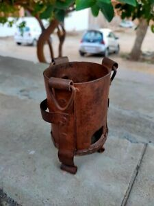Antique Iron Small Fire Pit Stove Old Hand Made Coal Burner Sigadi Collectible