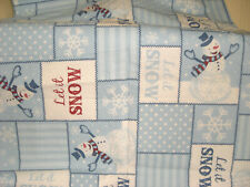 Snowman Tablecloth 50 x 70 Oblong Blue & White MINT Pre-Owned