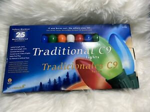 25 Bulbs C9 Multi-Colored Traditional Christmas String Lights Green Wire 24-FT
