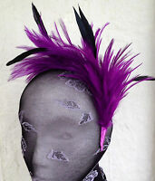 Purple feather headband fascinator millinery wedding ascot bridal hat hair piece