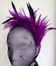 Purple feather headband fascinator millinery wedding ascot bridal hat hair piece