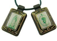 Green Moulded Scapular with Our Lady Mother Mary Medal Pendant, 14 1/2 Inch
