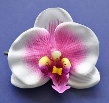 "2.5"" Purple & White Orchid Silk Flower BOBBY PIN Hair Clip Luau Wedding Cruise"