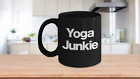 Yoga Junkie Mug Black Ceramic Coffee Cup Funny Gift for Teacher, Instructor,
