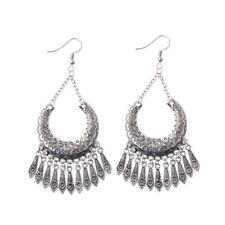 Silver Earrings For Lady Dw-Eh-Hxe002 Bohemian Fashion Engraving Pattern Tassel