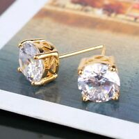 New arrival!  white sapphire 24k yellow gold filled engagement stud earring