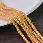 New 100pcs 4mm Cube Square Faceted Gold Foil Glass Loose Spacer Beads Light Gold