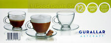 12Pc Set of Clear Glass Glassware Espresso Coffee Tea Cups Saucers Expresso 95ml