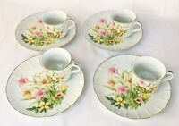 Vintage Jade Lily Shafford Fine Porcelain China Set Of 4 Plates & Cups *NEW*