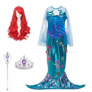 Girls Princess Ariel Little Mermaid Fancy Dress Kids Party Costume + Accessories