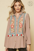 1XL PLUS SIZE ANDREE BY UNIT EMBROIDERED 3/4 SLEEVE COLLARED TUNIC TOP P13646