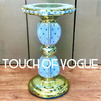 Gold Mirrored Side Table Modern Plant Stand BedSide Sparkle End Romany Bed UK