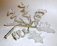 "Antique 7"" Art Nouveau Wired Clear Glass Leaves & Vines Table Decor"