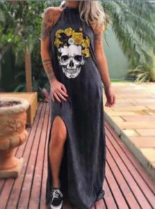 Women Summer Skull Casual Sleeveless Ladies Beach Mini Dress Size 6-22 E6291