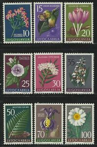 Yugoslavia 1957 Flowers set Sc# 469-77 NH