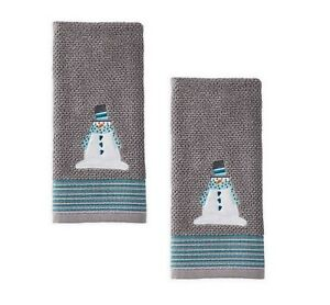 Winter Wonderland Snow Buddies Gray Hand Towels LOT OF TWO (2)!