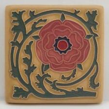 4x4 Arts & Crafts Tudor Rose Tile in Coral by Arts & Craftsman Tileworks