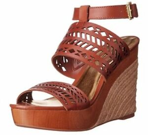 Women's Ralph Lauren GEORGINA Espadrille Platform Wedge Sandal Heels Polo Tan