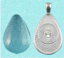 10 Teardrop Pendant & Glass Cabochon Settings  DIY Silver     Nickel & Lead Free