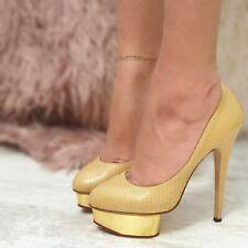 Auténtico CHARLOTTE OLYMPIA DOLLY Piel De Serpiente Plataforma Taco Alto Zapatos de salón en muy buena condición
