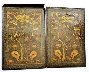 1930's Persian Islamic Papier Mache Lacquer Book Manuscript Cover Hand Painting
