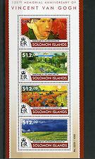 Islas Salomón 2015 estampillada sin montar o nunca montada Vincent van Gogh 125th Memorial 4v m/s Art Sellos