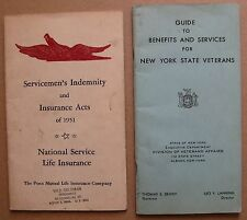 Servicemen Indemnity Insurance & New York State Veterans Benefits Guide 1951/53