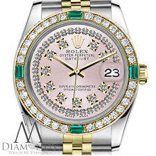 Ladies Rolex 31mm Datejust 2 Tone Pink String Diamond Dial Emerald Vintage Style