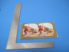 1905 Stereoview T.W.Ingersolle #143 Bringing Chickens To The Market At Dalny