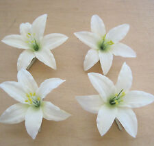 "Four Piece Lot 3.5 "" Cream White Lily Silk Flower Hair Clips,Wedding,Prom, Dance"