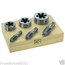 "6PC 1/4"" 3/8"" 1/2"" STEEL TAP & DIE TOOL THREADER THREAD KIT PIPE THREADING"