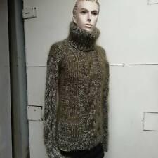 Knit Hand Cable Mohair Men's Turtleneck Green Melange Handmade Hairy Ski Sweater