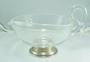 Antique Sterling Silver Base, Clear Glass Heart 'GRAVY BOWL Creamer Dish Pitcher