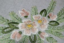 MAGNOLIA BOUQUETS ON A BED OF GREENERY! VTG GERMAN HAND EMB CHRISTMAS TABLECLOTH