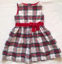 H&M Toddler Girls Winter Dress Red Green White Tartan Plaid Velvet Bow Size 4-5