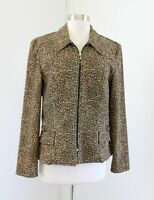Vtg Joseph Ribkoff Zip Front Leopard Print Blazer Jacket Size 10 Brown Black