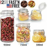 500/750/1500ml Kitchen Food Storage Glass Mason Jars Canister Set with Clear Lid