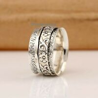Solid 925 Sterling Silver Spinner Ring Meditation Ring Statement Ring Size RA61