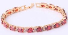 18K GOLD EP 8 CT DIAMOND SIMULATED RUBY LINK BRACELET