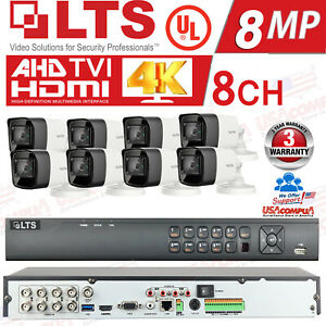 LTS 8ch Security Cameras System Kit 8MP BULLET H.265+ 4K /HDD Included / IP67 UL