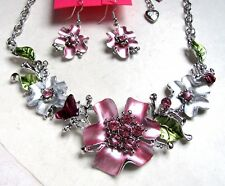 Betsey Johnson pink crystal colour enamel flowers Necklace earring set#035T