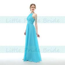 HALTER NECK CHIFFON BRIDESMAID PARTY EVENING PROM DRESSES SIZE 6-24 JS58