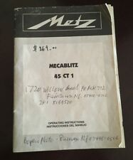 METZ MECABLITZ 45 CT-1 OPERATING INSTRUCTIONS MANUAL