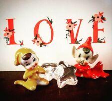 2 1940'S Ceramic Pixie Elf Elves Sprites Fairies Imps Christmas Made In Japan