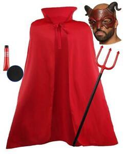"Halloween Devil Demon Satan Lucifer Half Face Mask 60"" Cape Trident Fancy Dress"