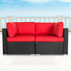 2pc Garden Sofa Rattan Wicker Corner Couch Sectional Furniture Red Cushion
