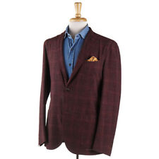 New $1595 BOGLIOLI Burgundy Check Lightweight Wool-Linen Sport Coat 38 R (Eu 48)