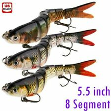 Fishing Lure 8-Segments Fish Bass Minnow Swimbait Tackle Hook Lure Crank Bait US
