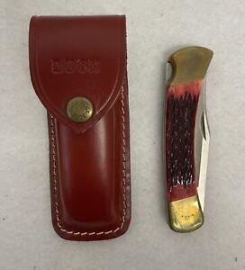 Vintage Buck Folding Knife 110X USA with Stag Handle & Sheath 1980's