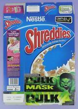 Incredible Hulk Shreddies Cereal Box - Hulk Mask,  2004